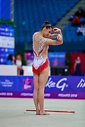 Pigniczki Fanni during the qualification of hoop at the Pesaro World Cup 2018. She was born in Budapest Hungary in 2000.