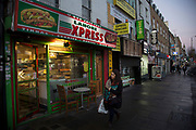 Kebab shop fast food restaurant on Bethnal Green Road in East London, UK.