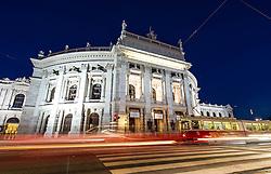 THEMENBILD - Burgtheater waehrend der Blauen Stunde. Es liegt am Universitaetsring, frueher Dr.-Karl-Lueger-Ring, und eroeffnete erstmals am 14. Oktober 1888. Es gilt als das oesterreichische Nationaltheater. Das Bild wurde am 15. April 2013 aufgenommen. im Bild Verkehr und Strassenbahn der Wiener Linien vor Burgtheater // THEME IMAGE FEATURE - Burgtheater in Vienna at Twilight Hour, which is at the viennese ring road and opened on 14th, October 1888. The image was taken on april, 15th, 2013. Picture shows Traffic in front of Burgtheater, AUT, EXPA Pictures © 2013, PhotoCredit: EXPA/ Michael Gruber