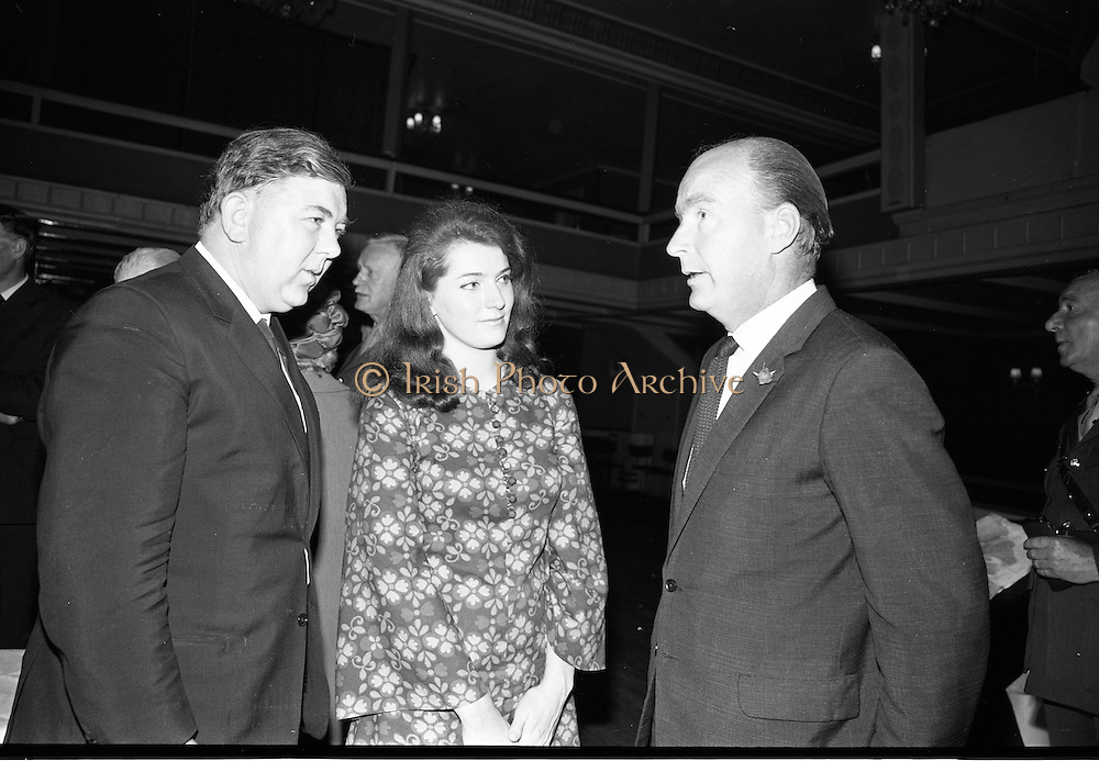 """24/07/1967<br /> 07/24/1967<br /> 24 July 1967<br /> First showing of """"Fleá Cheoil"""" at the Metropole Cinema, Dublin. A presentation was made to the director of the film Mr. Louis Marcus, for winning the Silver Bear Award at the Berlin International Film Festival, by Taoiseach Jack Lynch TD, on behalf of the Cork Film Society, where Mr. Marcus began his carrier. President of the Society Mr. Sean Hendrick attended the presentation. Picture shows (l-r): Ciaran Mac Mathuna; Dolly MacMahon and the Minister of Labour Dr. Patrick Hillery."""