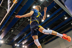 August Borna of Sweden in action during the CEV Eurovolley 2021 Qualifiers between Sweden and Netherlands at Topsporthall Omnisport on May 14, 2021 in Apeldoorn, Netherlands