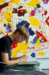 Stock photo of Student Studying at the Houston Museum of Fine Art, Houston.