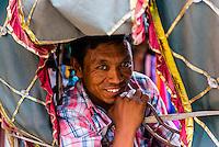 A bicycle rickshaw driver, Kathmandu, Nepal.