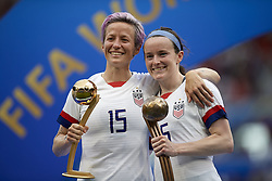 July 7, 2019 - Lyon, France - Megan Rapinoe golden ball and Rose Lavelle bronze ball pose during the 2019 FIFA Women's World Cup France Final match between The United State of America and The Netherlands at Stade de Lyon on July 7, 2019 in Lyon, France. (Credit Image: © Jose Breton/NurPhoto via ZUMA Press)