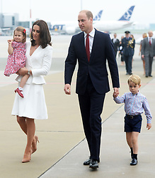 The Duke and Duchess of Cambridge, Prince George and Princess Charlotte arrive at Warsaw Chopin Airport at the start of their two day visit to Poland, on the 17th July 2017. 17 Jul 2017 Pictured: Princess Charlotte, Catherine, Duchess of Cambridge, Kate Middleton, Prince William, Duke of Cambridge, Prince George. Photo credit: MEGA TheMegaAgency.com +1 888 505 6342