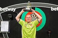 Michael van Gerwen winner of the 2016 Premier League during the Betway Premier League Darts Play-Offs at the O2 Arena, London, United Kingdom on 19 May 2016. Photo by Shane Healey.