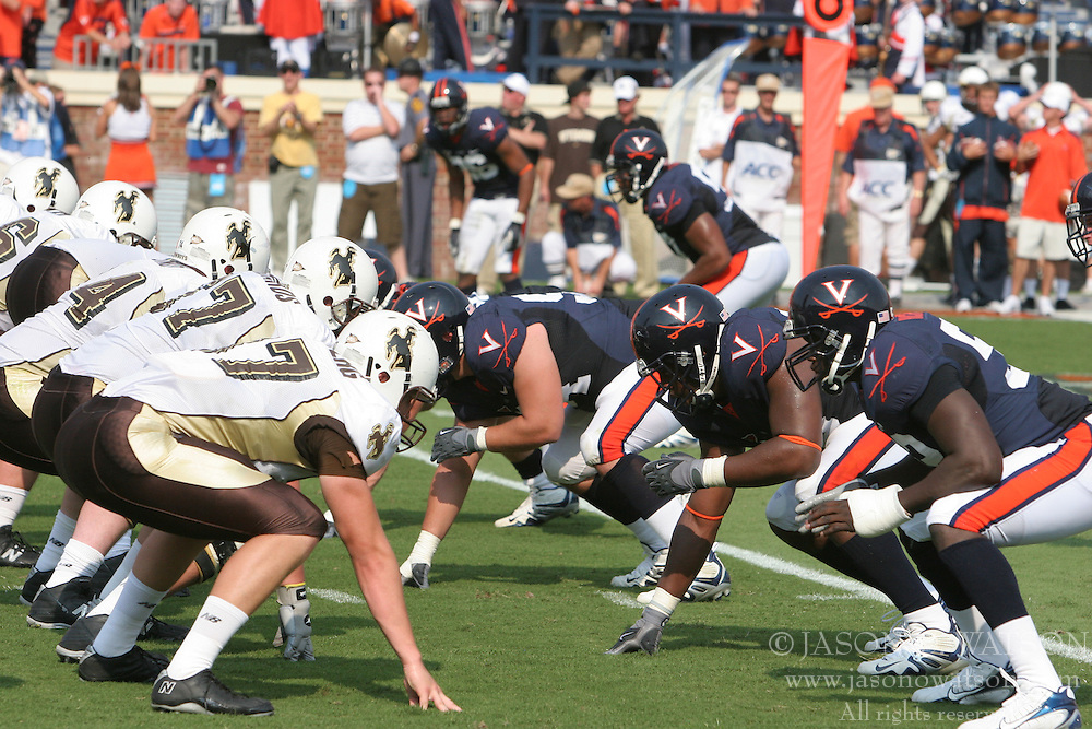 The Virginia Cavaliers defeated the Wyoming Broncos 13-12 in overtime on September 9, 2006 at Scott Stadium in Charlottesville, VA.
