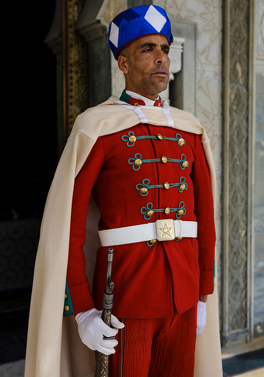 RABAT, MOROCCO - CIRCA APRIL 2017: Guard at the Mausoleum of Mohammed V in Rabat.