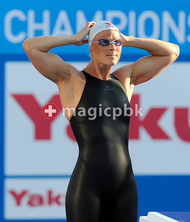 Aurore MONGEL of France prepares herself before competing in the women's 200m butterfly final at the 13th FINA World Championships at the Foro Italico complex in Rome, Italy, Thursday, July 30, 2009. (Photo by Patrick B. Kraemer / MAGICPBK)