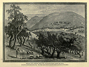 Engraving on Wood of Nablus and Gerizim from the south-western slopes of Ebal from Picturesque Palestine, Sinai and Egypt by Wilson, Charles William, Sir, 1836-1905; Lane-Poole, Stanley, 1854-1931 Volume 2. Published in New York by D. Appleton in 1881-1884