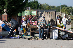 © Licensed to London News Pictures. 19/09/2011. Crays Hill, UK. A barricade being built within the grounds of Dale Farm. Activists and residents at the Dale Farm travellers site in Essex prepare for the council to enforce an eviction notice which is due to start today (19/09/2011). Photo credit: Ben Cawthra/LNP