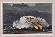 Pedro Branco, which has been thought to resemble the Bass rock in the Frith of Forth, is situated at , the entrance of the Straits of Malacca, where it stands like a lonely watch-tower in the ocean. It is descried from a considerable distance, being easily distinguished by the tremendous breakers ever dashing 4 against its base. colour print from the book ' A Picturesque Voyage to India by Way of China  ' by Thomas Daniell, R.A. and William Daniell, A.R.A. London : Printed for Longman, Hurst, Rees, and Orme, and William Daniell by Thomas Davison, 1810. The Daniells' original watercolors for the scenes depicted herein are now at the Yale Center for British Art, Department of Rare Books and Manuscripts,