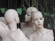 Close-up of mannequin torsos left in a yard, Hanoi, Vietnam, Southeast Asia