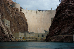 Hoover Dam on border of Arizona, AZ, Nevada, NV, flood control, drinking water source, Colorado River, image nv409-18637.Photo copyright: Lee Foster, www.fostertravel.com, lee@fostertravel.com, 510-549-2202