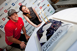 Anze Kopitar with cake at Anze's Eleven and Triglav Charity Golf Tournament, on June 30, 2012 in Golf court Bled, Slovenia. (Photo by Matic Klansek Velej / Sportida)