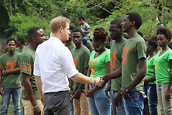 Prince Harry meets volunteers during a visit to 'Nature Fun Ranch', which allows young people to speak freely with one another about important topics, including HIV/AIDS, providing them with a positive focus to guide their lives in the right direction, during his tour of the Caribbean.