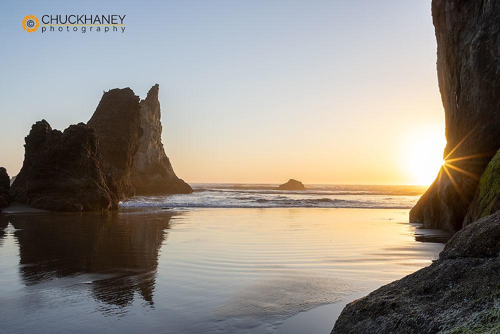 Humbug Point at sunset near Cannon Beach, Oregon, USA