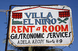 Sign outside a house in Vinales; Pinar Province; Cuba; indicating room to rent,