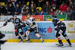 03.11.2018, Ice Rink, Znojmo, CZE, EBEL, HC Orli Znojmo vs Dornbirn Bulldogs, 16. Runde, im Bild v.l. Allan McPherson (HC Orli Znojmo) Radek Cip (Dorbirn Bulldogs) Jakub Stehlik (HC Orli Znojmo) // during the Austrian Erste Bank Eishockey Liga 16th round match between HC Orli Znojmo and Dornbirn Bulldogs at the Ice Rink in Znojmo, Czechia on 2018/11/03. EXPA Pictures © 2018, PhotoCredit: EXPA/ Rostislav Pfeffer