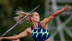 Nadine Broersen in action on the javelin throw section during the Dutch Athletics Championships (NK) on the athletics track Maarschalkerweerd on 30 August 2020 in Utrecht.