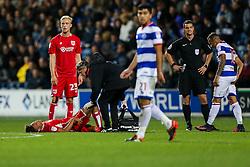 Bobby Reid of Bristol City receives treatment - Rogan Thomson/JMP - 18/10/2016 - FOOTBALL - Loftus Road Stadium - London, England - Queens Park Rangers v Bristol City - Sky Bet EFL Championship.