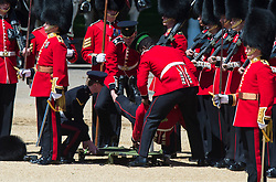 An Irish Guard collapses before being taken away on a stretcher, during the Colonel's Review, the final rehearsal of the Trooping the Colour, the Queen's annual birthday parade, on the mall in Central London.