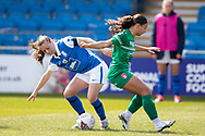 Veatriki Sarris of Birmingham City Women and Ashlee Brown of Coventry Utd Ladies battles for possession during the Women's FA Cup match between Birmingham City Women and Coventry United Ladies at Solihull Moors FC, Solihull, United Kingdom on 18 April 2021.
