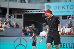 May 13, 2018 - Madrid, Madrid, Spain - ALEXANDER ZVEREV celebrates the match point the final against DOMINIC THIEM during the Mutua Madrid Open 2018 - ATP in Madrid. ALEXANDER ZVEREV won the match 6-4 6-4. (Credit Image: © Patricia Rodrigues via ZUMA Wire)