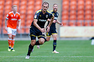 Wimbledon forward James Hanson (18) in action  during the EFL Sky Bet League 1 match between Blackpool and AFC Wimbledon at Bloomfield Road, Blackpool, England on 20 October 2018.