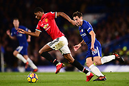 Marcos Rashford of Manchester Utd sprints away from Cesar Azpilicueta of Chelsea .Premier league match, Chelsea v Manchester United at Stamford Bridge in London on Sunday 5th November 2017.<br /> pic by Andrew Orchard sports photography.