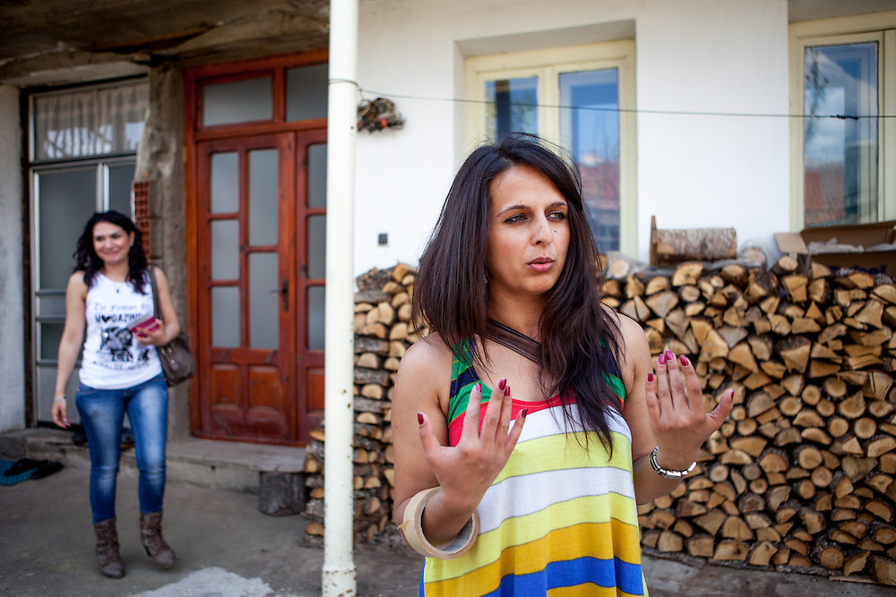 Romina Kajtazova and her collegue Sanela Abdulova - both working as paralegals for NGO Kham - during door to door activity in Delcevo. They visit families, deliver brochures and putting up posters in the community to inform about health related issues and patients rights.