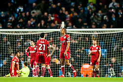 Bobby Reid of Bristol City looks dejected after Manchester City score in added time to win 2-1 - Rogan/JMP - 09/01/2018 - Etihad Stadium - Manchester, England - Manchester City v Bristol City - Carabao Cup Semi Final First Leg.
