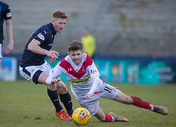 Raith Rovers Jason Thomson and Airdrie's T`om Fry. Raith Rovers 2 v 1 Airdrie, Scottish Football League Division One game played 10/2/2018 at Stark's Park, Kirkcaldy.