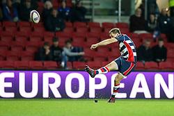 Adrian Jarvis of Bristol Rugby kicks a conversion - Rogan Thomson/JMP - 11/12/2016 - RUGBY UNION - Ashton Gate Stadium - Bristol, England - Bristol Rugby v Pau - European Rugby Challenge Cup.