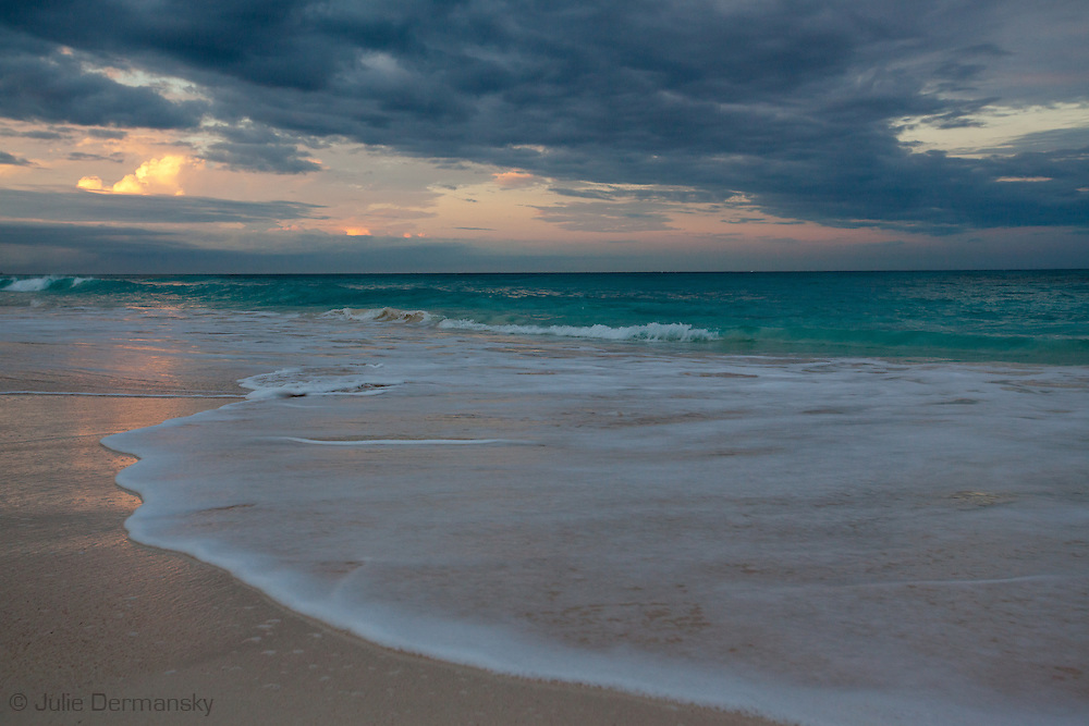 Storm Clouds over the Atlantic Ocean and beach on Elbow Cay, one of the Abaco Islands in the Bahamas.