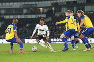 Derby County's Duane Holmes is surrounded by Southampton players during the The FA Cup 3rd round match between Derby County and Southampton at the Pride Park, Derby, England on 5 January 2019.