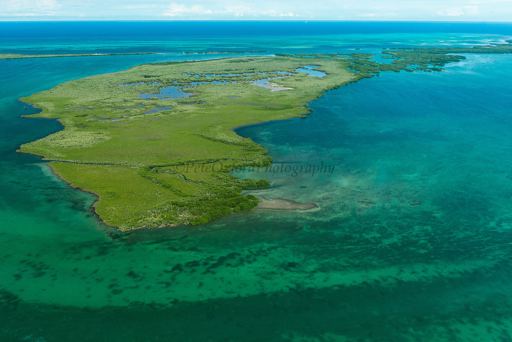 Hicks Cays,<br /> Aerial view<br /> Belize<br /> Central America