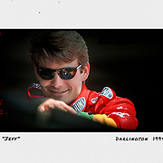 Jeff Gordon poses for a portrait inside the Darlington garage during practice for the Southern 500. ©Travis Bell Photography