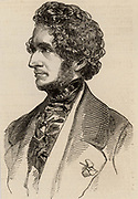 Hector Berliioz (1803-1859) French Romantic composer. Engraving from 'The Illustrated London News' (London, 12 February 1848).