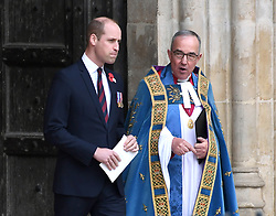 The Duke of Cambridge at the annual Service of Commemoration and Thanksgiving at Westminster Abbey, London, to commemorate Anzac Day. Photo credit should read: Doug Peters/EMPICS Entertainment