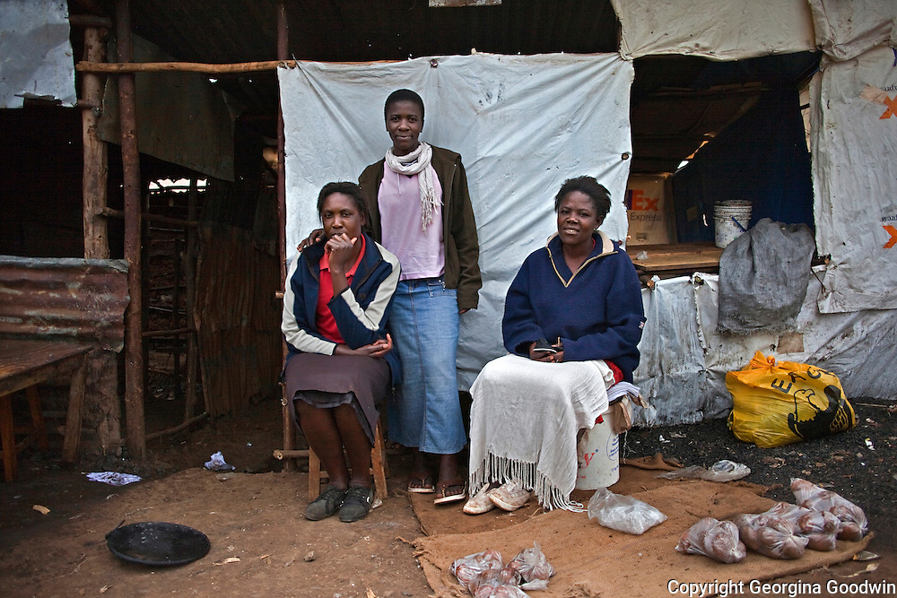 Evelyn (38), Jacinta (27) and  Lilian (31) are a group of women in Nairobi's Kibera slum who have formed an informal collective, supporting each other to sell potatoes they grow in small patches in the slum to earn a living. They pool their earnings and make group decisions for the benefit of all their families. July 2010