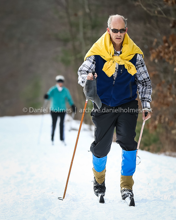 (1/5/14, HOLLISTON, MA) Ben and Sue Stone of Holliston take advantage of the recent snowfall to do some cross-country skiing along the Upper Charles Rail Trail in Holliston on Sunday. Daily News and Wicked Local Photo/Dan Holmes