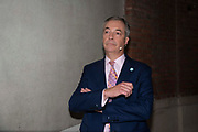 Brexit party leader, Nigel Farage waits back stage to addresses delegates at the final event of the Brexit Party Tour in London, United Kingdom on 27th September 2019. In the event of a general election being called, the party has already selected prospective parliamentary candidates in  constituencies across the UK .