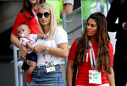 Annabel Peyton, partner of England's Jack Butland and Rebekah Vardy, wife of Jamie Vardy before the FIFA World Cup, Quarter Final match at the Samara Stadium.