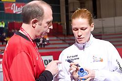 Coach of Metz Francois Bertrand and Oxana Pal at handball match of Round 5 of Champions League between RK Krim Mercator and Metz Handball, France, on January 9, 2010 in Kodeljevo, Ljubljana, Slovenia. (Photo by Vid Ponikvar / Sportida)