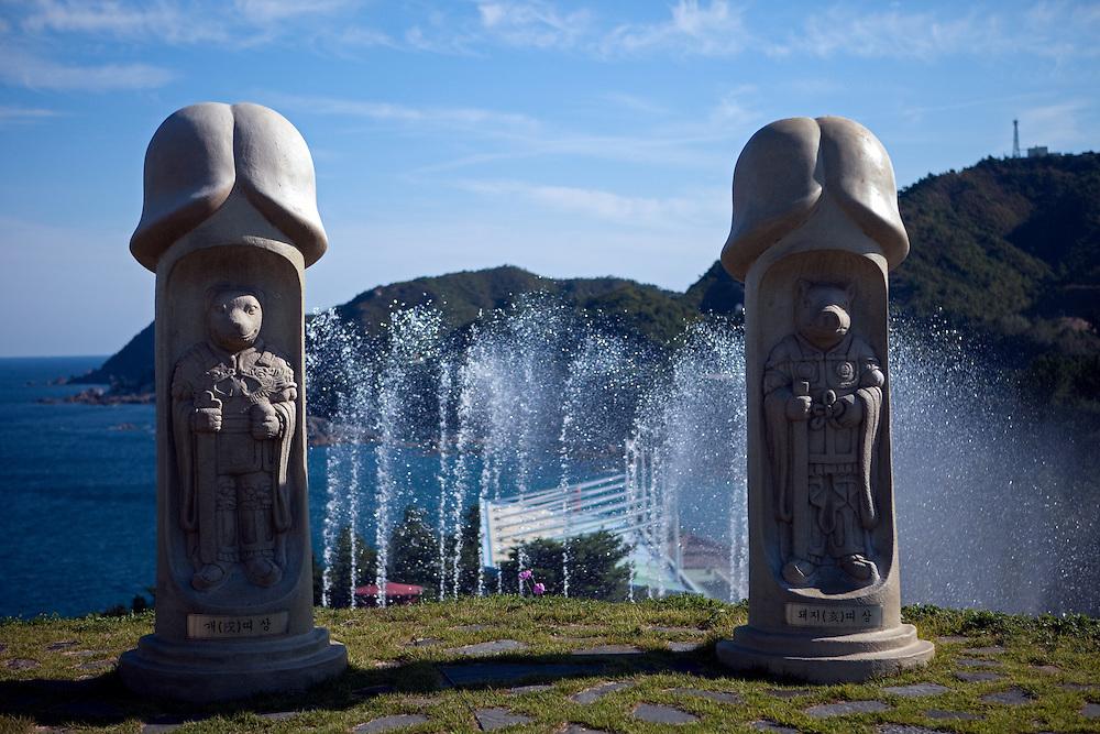 The penis park Haesindang Gongwon, giant wooden penis carvings and statuary / Sinnam, South Korea, Republic of Korea, KOR, 05 October 2009.