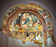 Romanesque frescoes depicting Christ Pantocrator and the Apostles from the Church of Sant Miguel d'Engolasters, Les Escaldes, Andorra.. Painted around 1160. National Art Museum of Catalonia, Barcelona. MNAC 15972 .<br /> <br /> If you prefer you can also buy from our ALAMY PHOTO LIBRARY  Collection visit : https://www.alamy.com/portfolio/paul-williams-funkystock/romanesque-art-antiquities.html<br /> Type -     MNAC     - into the LOWER SEARCH WITHIN GALLERY box. Refine search by adding background colour, place, subject etc<br /> <br /> Visit our ROMANESQUE ART PHOTO COLLECTION for more   photos  to download or buy as prints https://funkystock.photoshelter.com/gallery-collection/Medieval-Romanesque-Art-Antiquities-Historic-Sites-Pictures-Images-of/C0000uYGQT94tY_Y