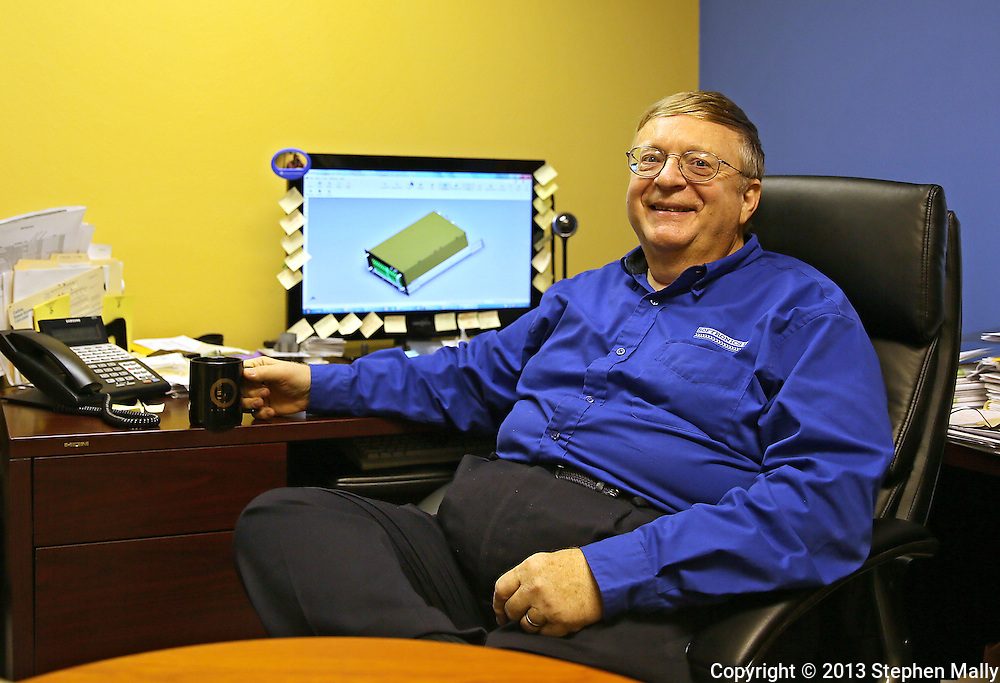 """Robert """"Bob"""" Sternowski in his office at Softronics LTD in Marion on Monday, February 11, 2013."""