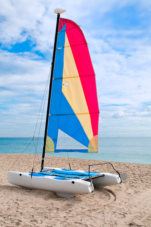 Colorful catamaran in the beach in Florida