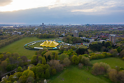 LIVERPOOL, ENGLAND - Tuesday, April 27th, 2021: A large tent erected in Sefton Park, Liverpool, ahead of a brand new music festival which is part of the national Events Research Programme (ERP). The Sefton Park Pilot, which takes place on Sunday 2 May, will feature bands Blossoms, The Lathums and Liverpool singer-songwriter Zuzu. Up to 5,000 local residents who take COVID tests prior to the event are allowed to attend without any social distancing or face mask requirements. (Pic by David Rawcliffe/Propaganda)